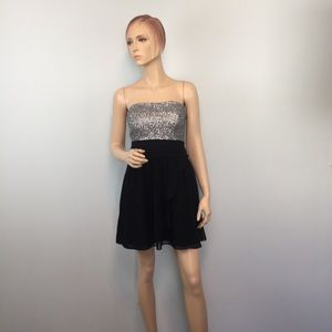 EXPRESS Black Silver Sequin Strapless Party Dress